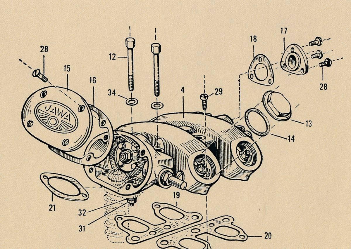 Hlava válce typu 15/02 s pohonem vačkového hřídele kuželovými ozubenými koly