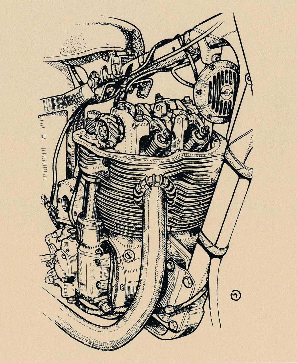 Motor s odkrytým šnekovým převodem vačkového hřídele